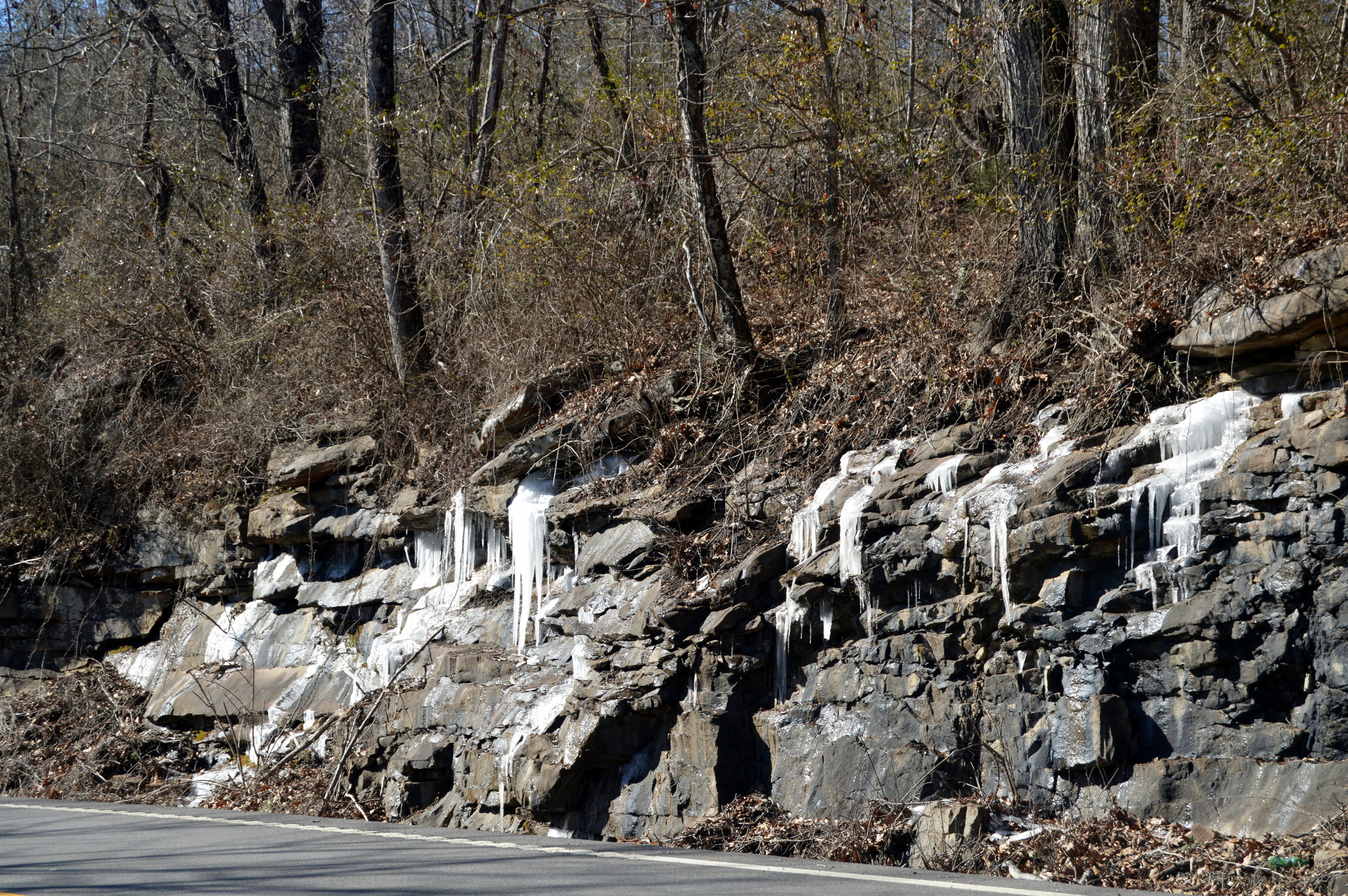 Icicles clinging to the rock walls along U.S. 70 in Cumberland County near Ozone Falls.