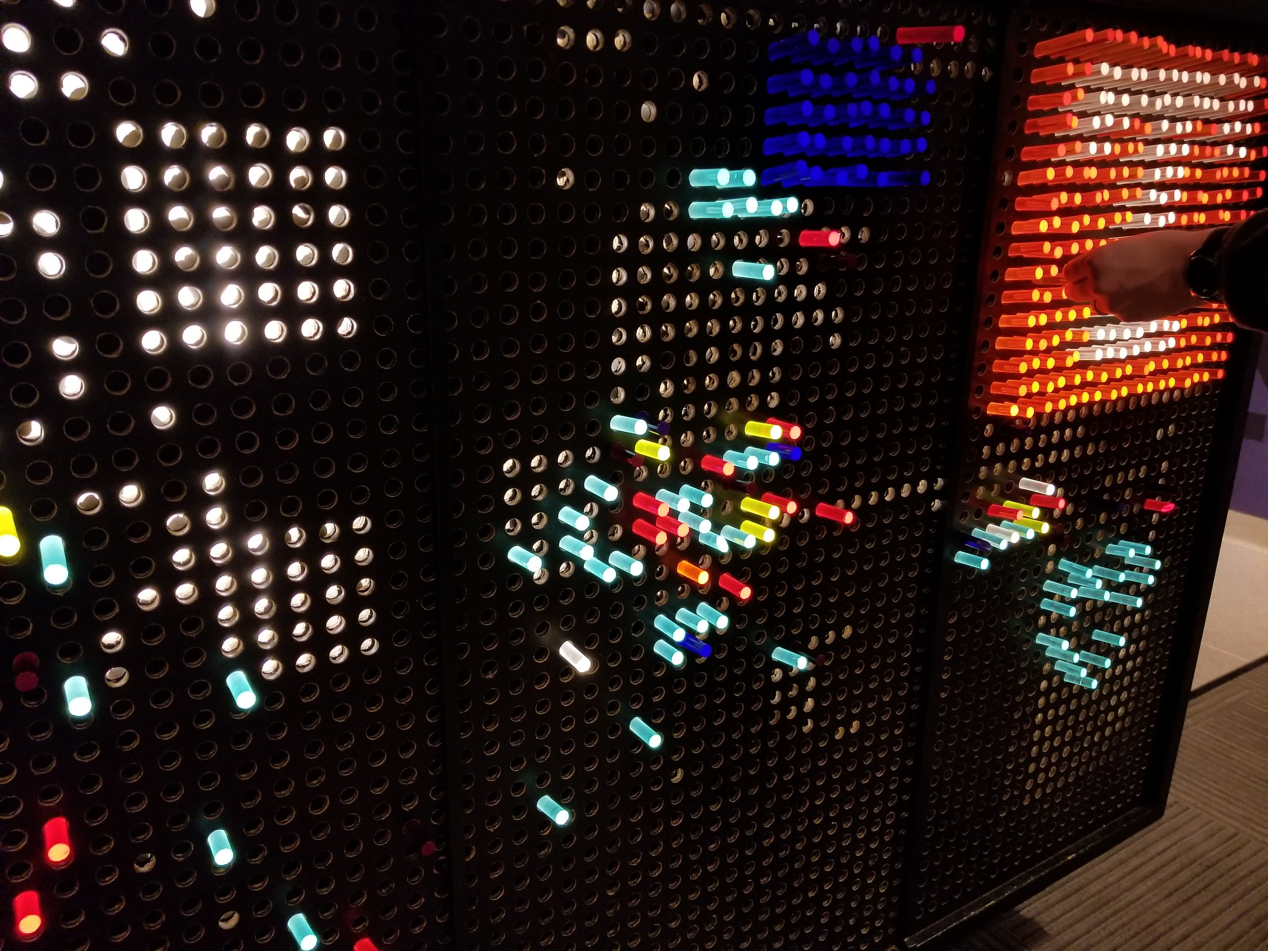 """Some hands-on """"lite-brite"""" fun for kids of all ages."""