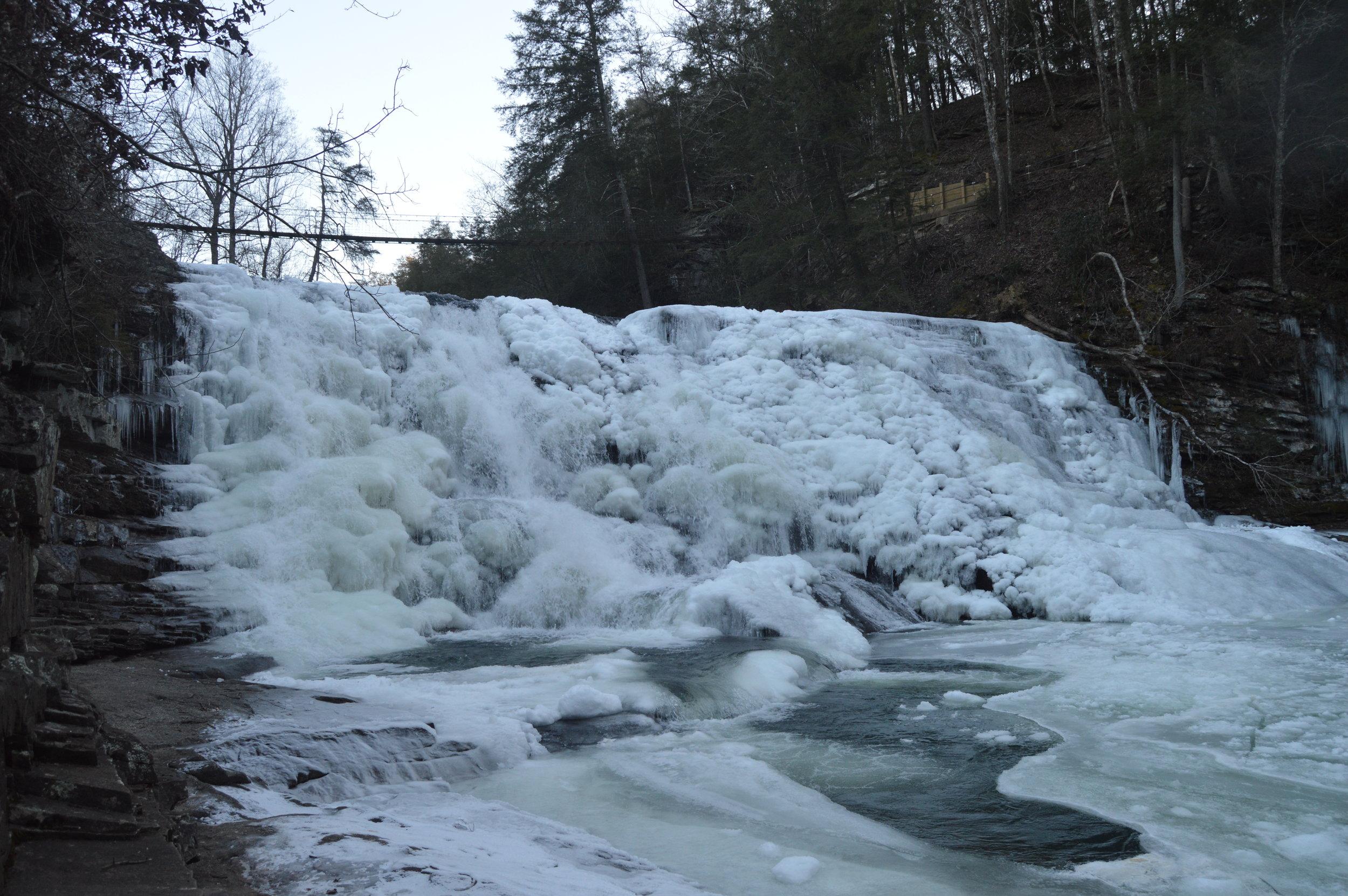 A frozen Cane Creek Cascades in January 2018.