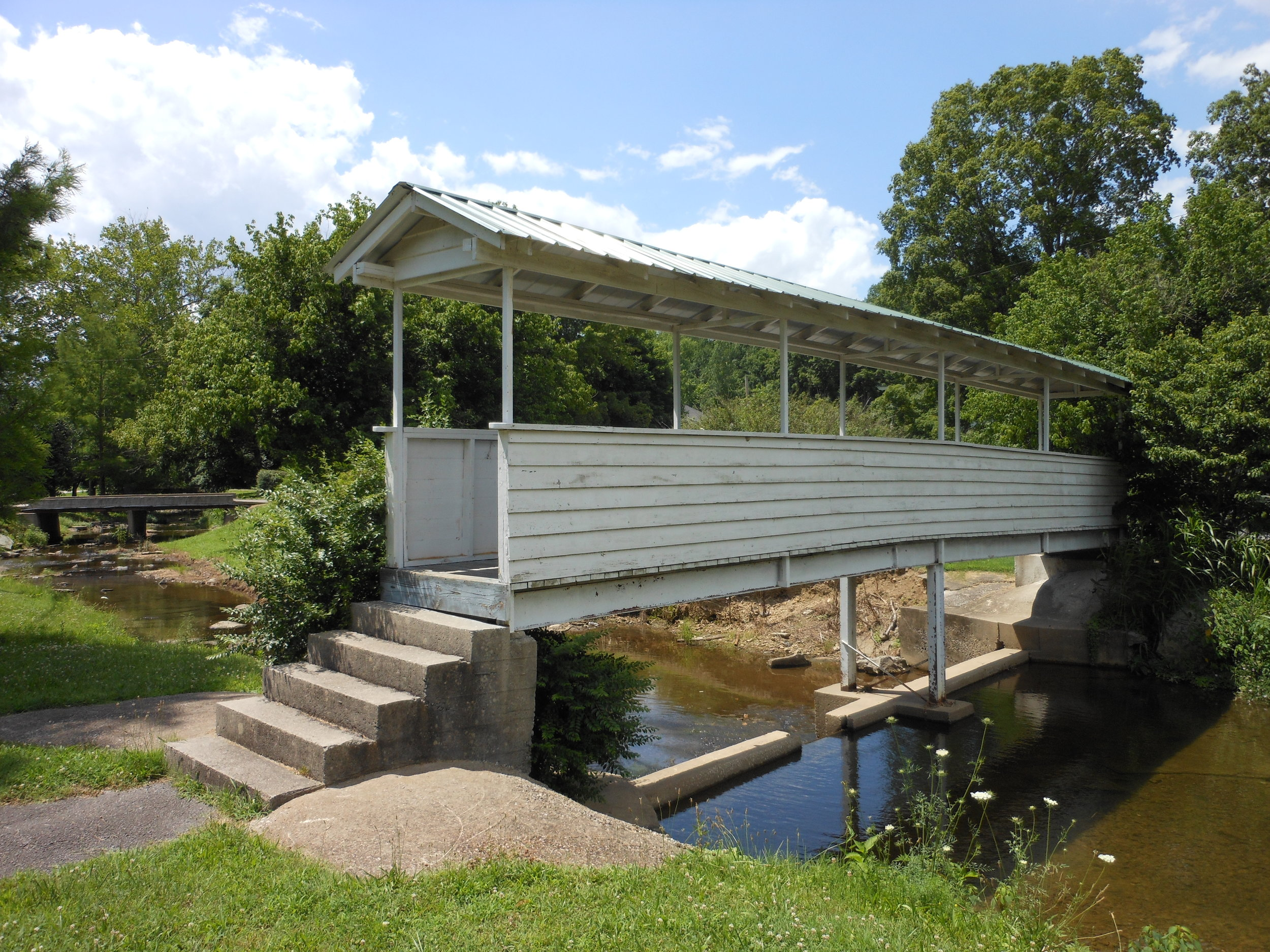 The covered walking bridge at the Donoho Hotel in Red Boiling Springs, TN.