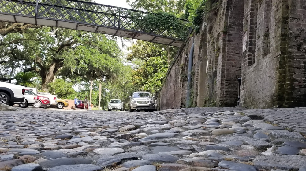 Cobblestone streets leading down to historic River Street