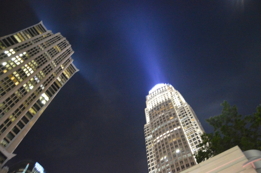 Charlotte is North Carolina's largest city. At night, the Uptown skyline is filled with color and light.