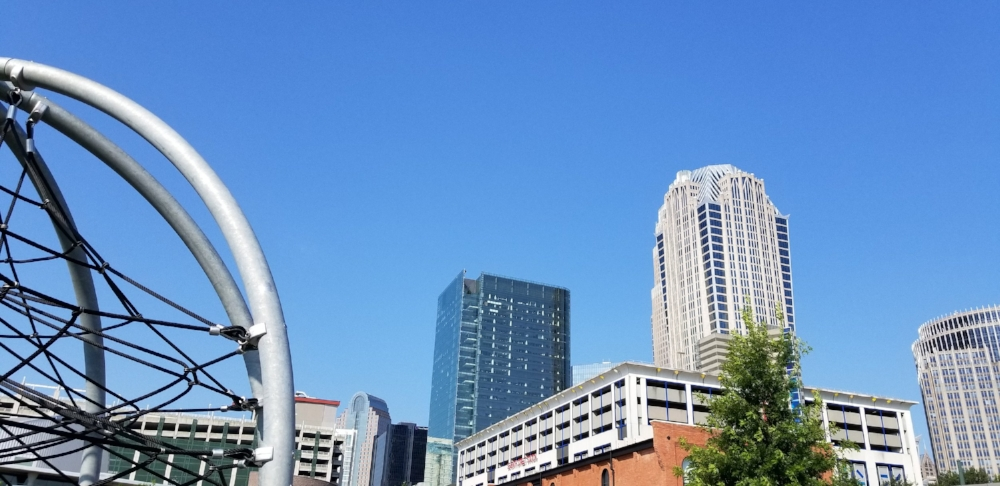 The view of Uptown Charlotte from the First Ward Park is just one of the park's many great features.