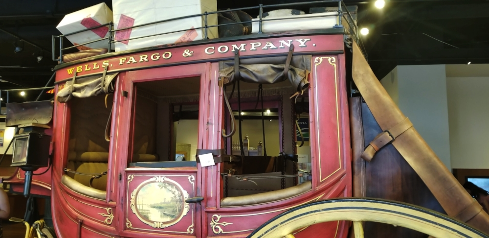You'll find this old stagecoach in the Wells Fargo Museum in Uptown Charlotte.
