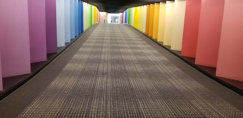 Colorful hallway at the Wells Fargo Center