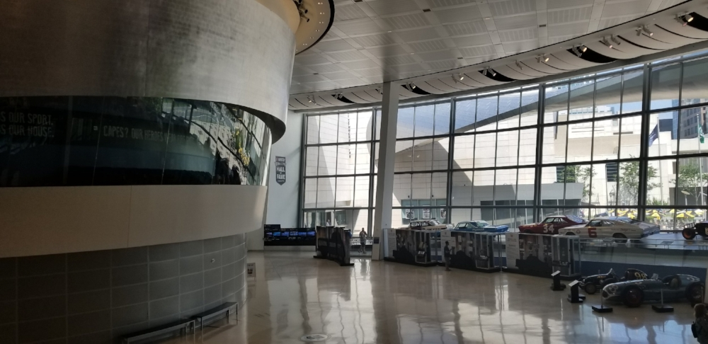 The grand hall at the NASCAR Hall of Fame