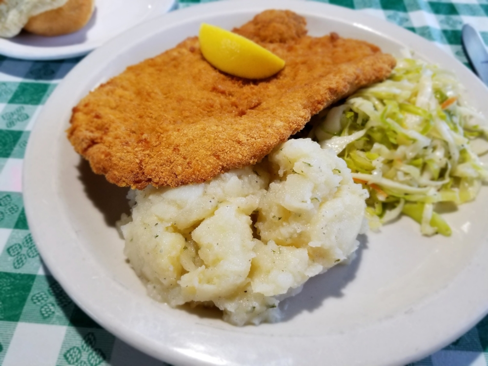 Schnitzel with German potato salad and coleslaw at Campbell's Kitchen.