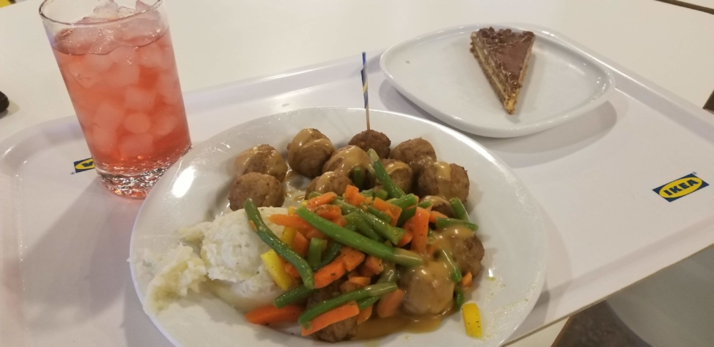 The Swedish Meatballs at the IKEA cafe are one of the restaurants signature dishes. The meal goes great with a glass (or two) of Lingonberry Soda.