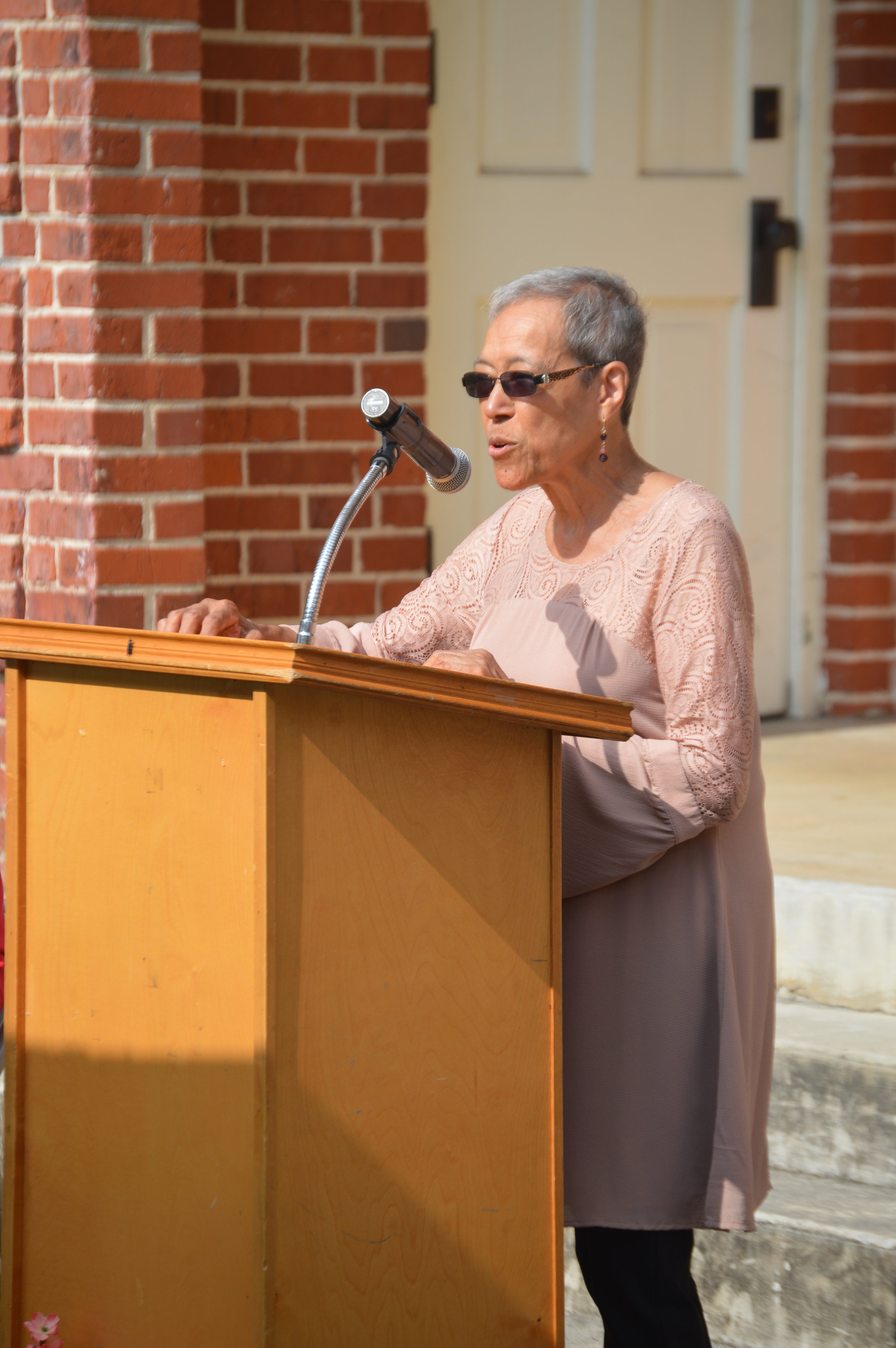 Jo Ann Boyce makes a few comments at the ribbon cutting.
