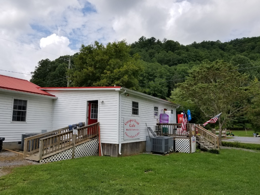 """The Creeper Trail Cafe is on the other side of the creek from the Virginia Creeper Trail. It's home to """"World Famous Chocolate Cake."""""""