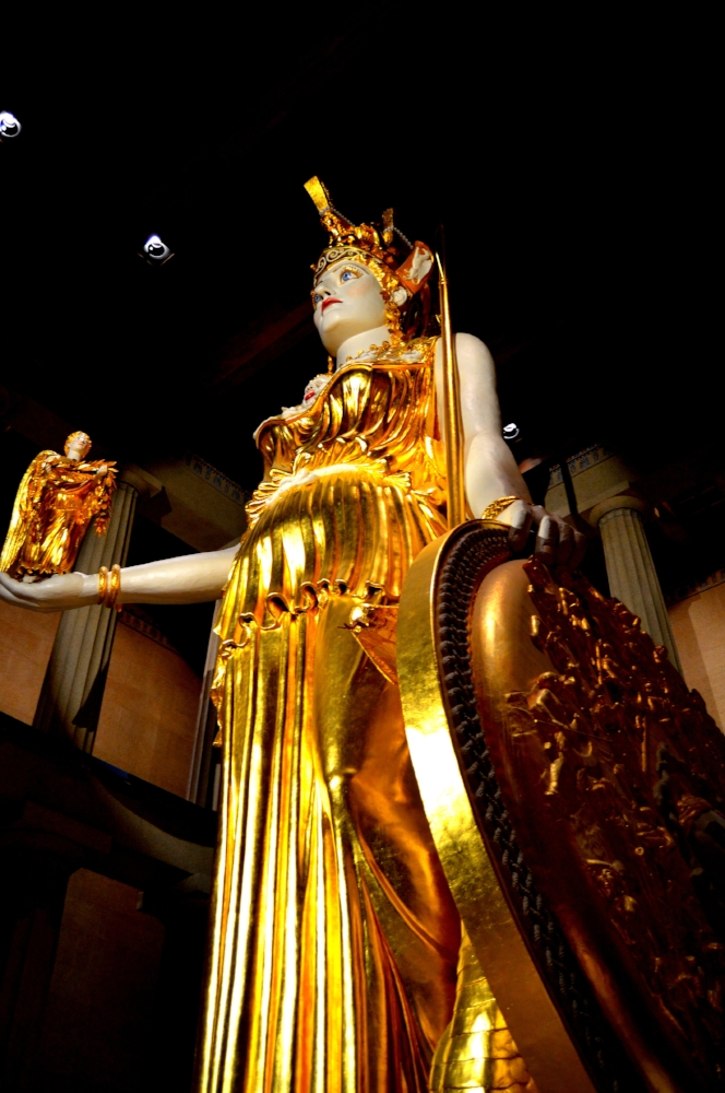 The statue of Athena inside the Parthenon stands more than 40-feet high.