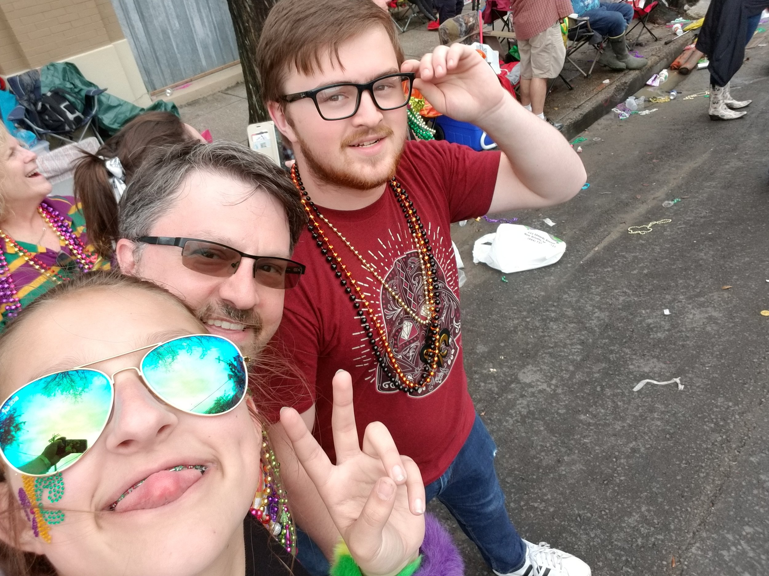 Watching the Mardi Gras parades is definitely a family affair.