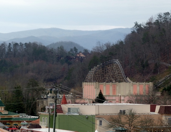 The Thunder Road turbo action ride was inside the big building in the background located near the Lightning Rod Roller Coaster added in 2016.
