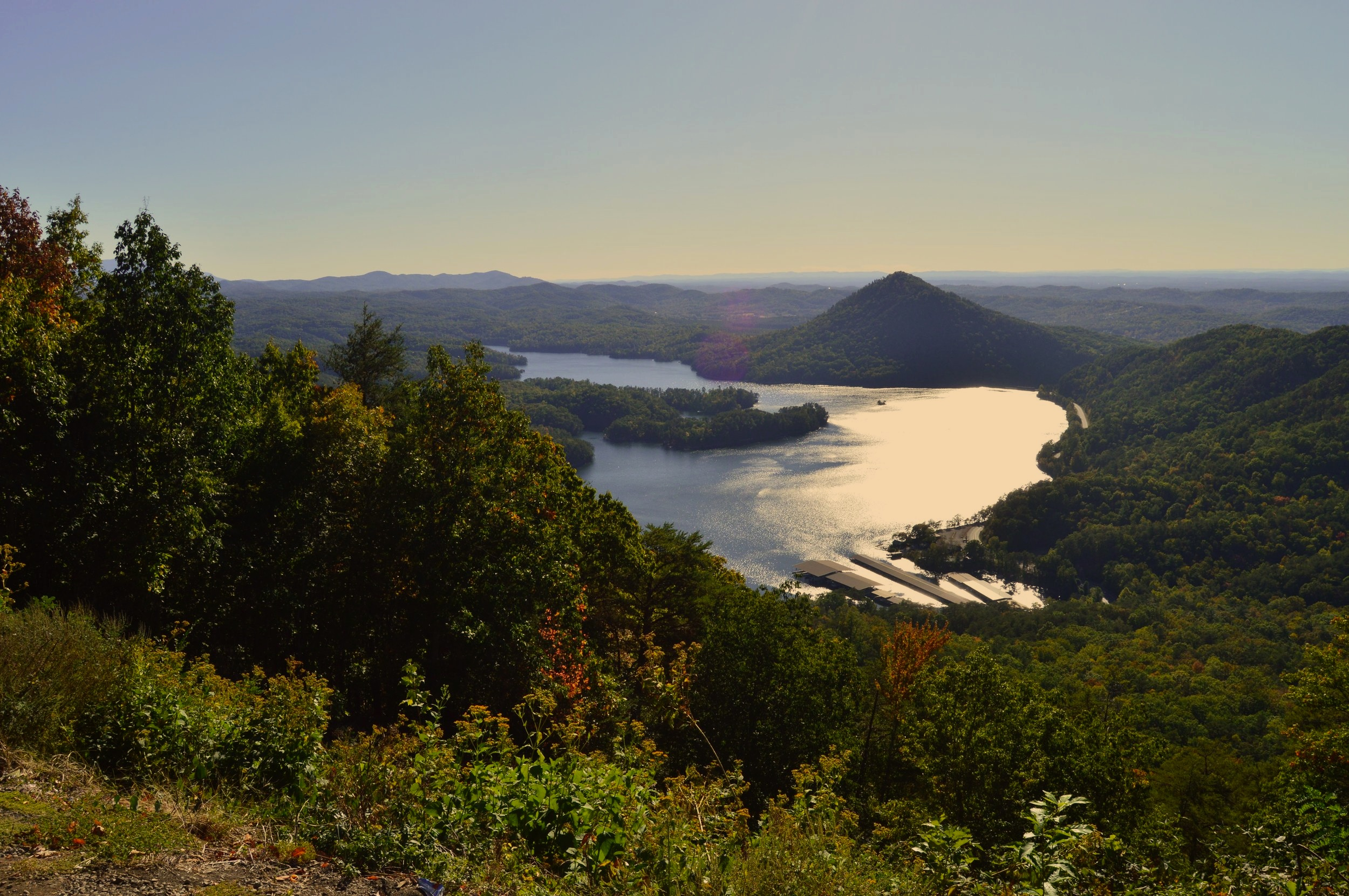 While you can drive along the shores of Parksville Lake (Lake Ocoee) it's best seen from the overlooks up on Chilhowee Mountain.