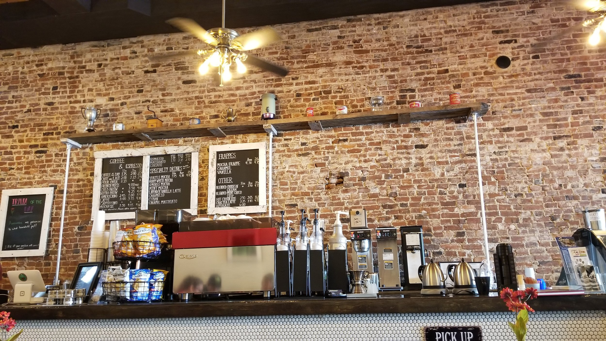 The Coffee Collective in Sparta, TN roasts and brews its coffee in house serving up sandwiches and great music, too.