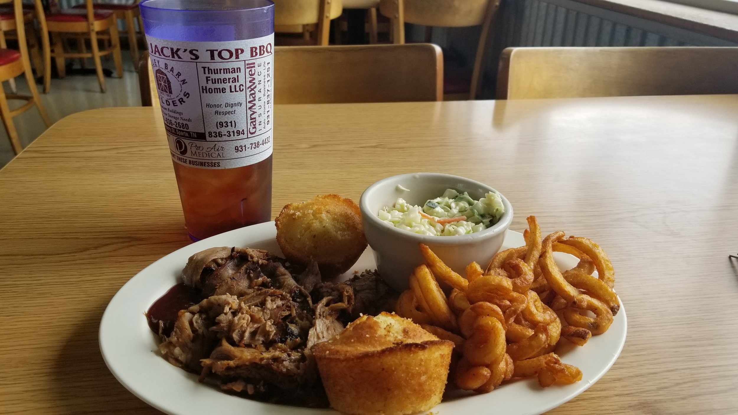The thinly sliced beef brisket at Jack's Top BBQ is so tender it almost melts in your mouth.