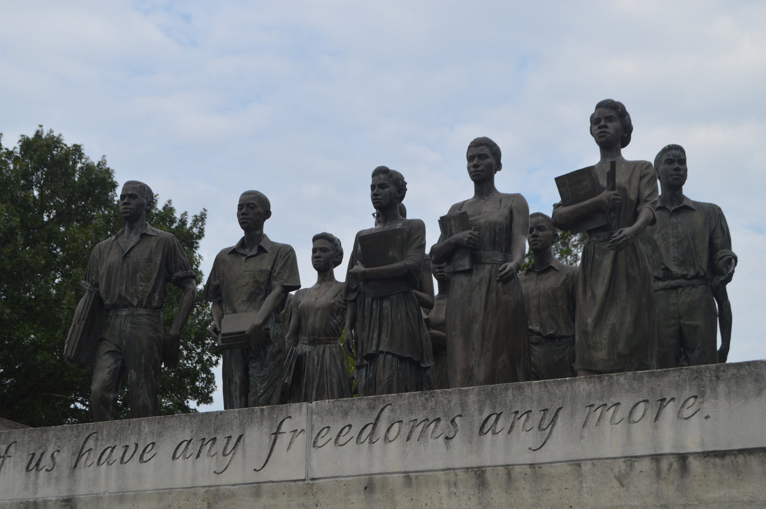Statues of the Clinton 12 stand proudly outside the Green McAdoo Cultural Center.