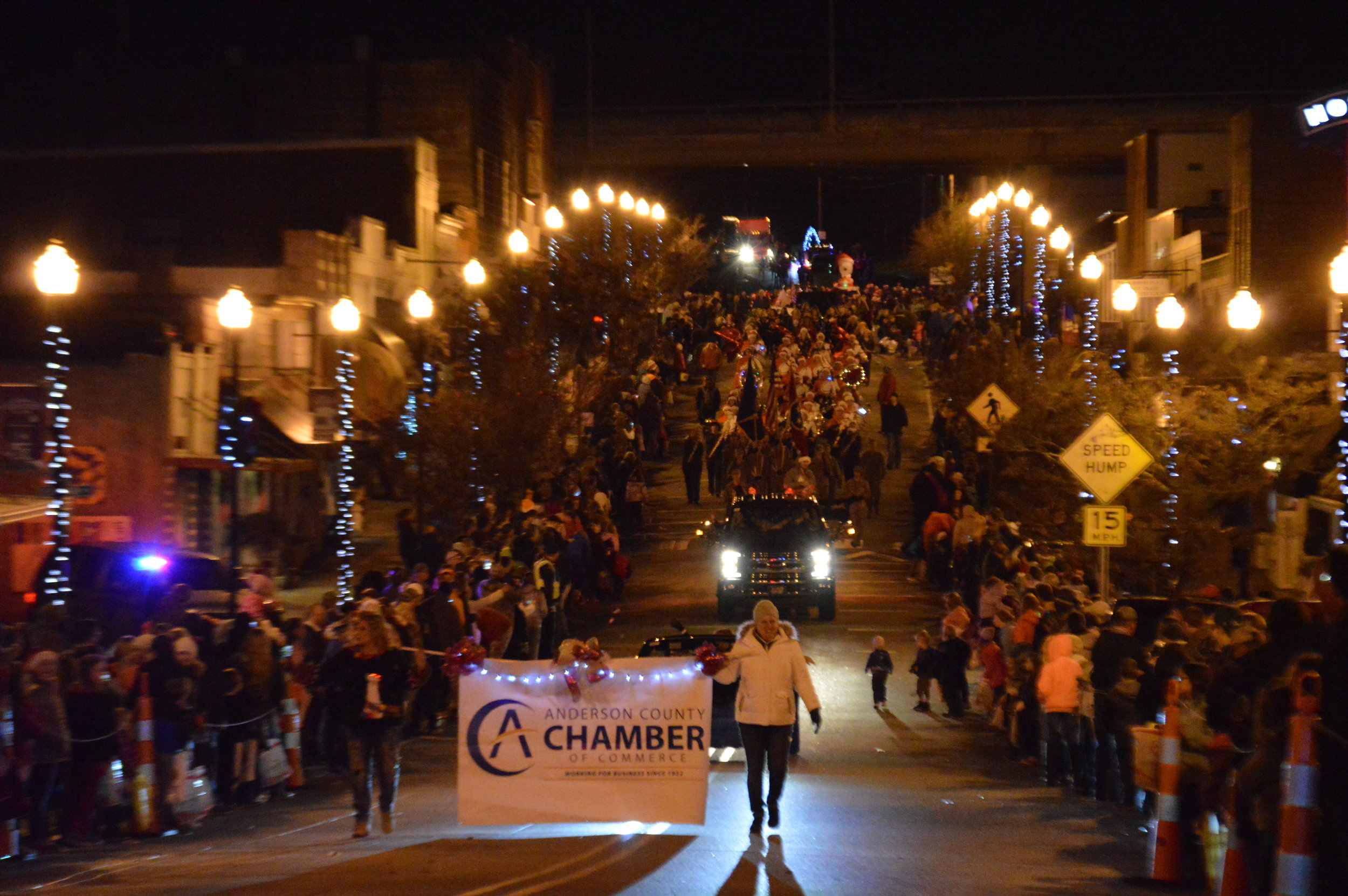 The Anderson County Chamber of Commerce sponsors the annual Christmas Parade that rolls through Downtown Clinton in December.