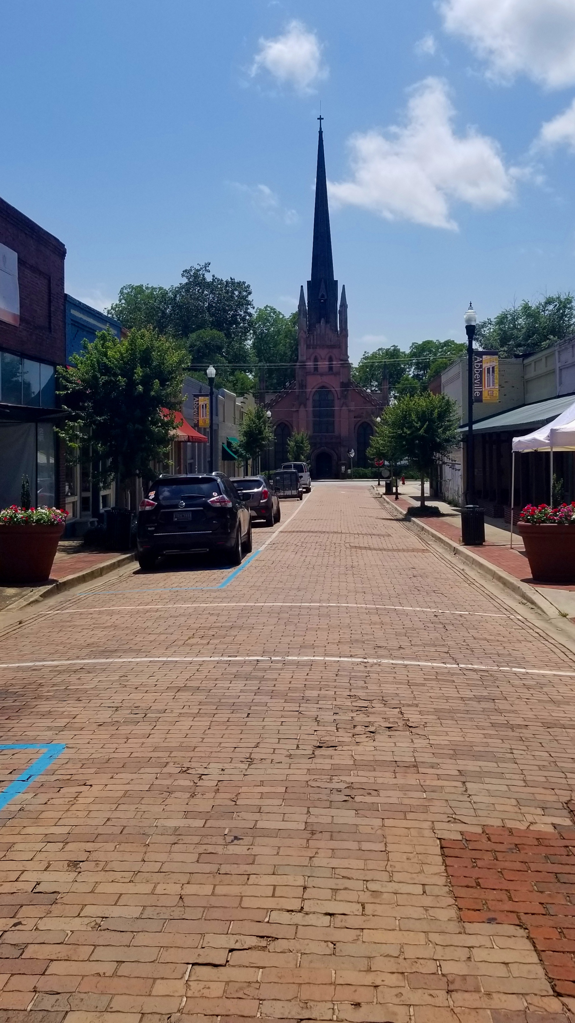 All around Abbeville you'll find old brick streets and lots of unique buildings like Trinity Episcopal Church.