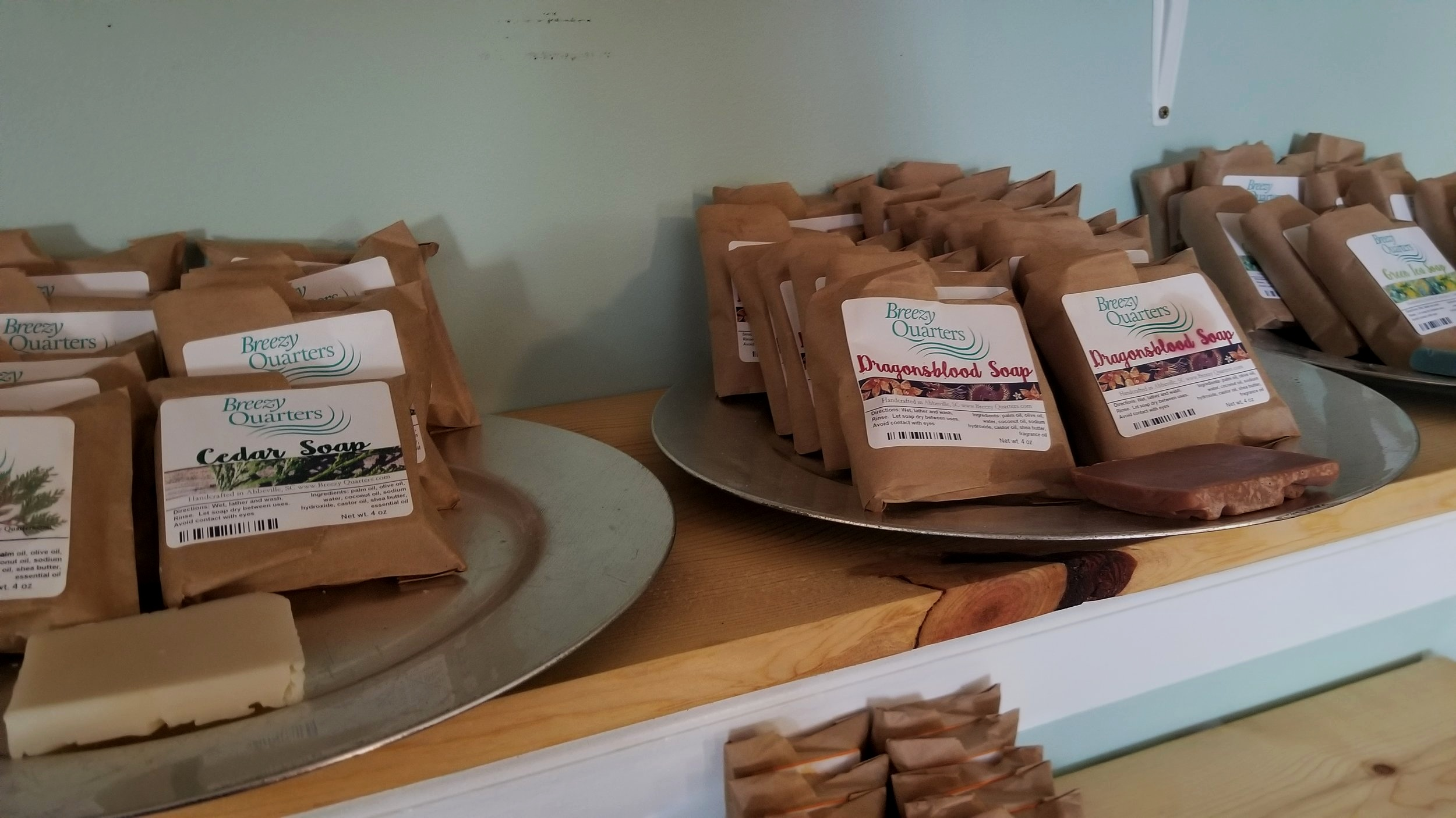 """Breezy Quarters Soap and Bath Factory features a wide assortment of hand made soaps, candles and other all natural products including a patented """"no melt"""" lip balm."""