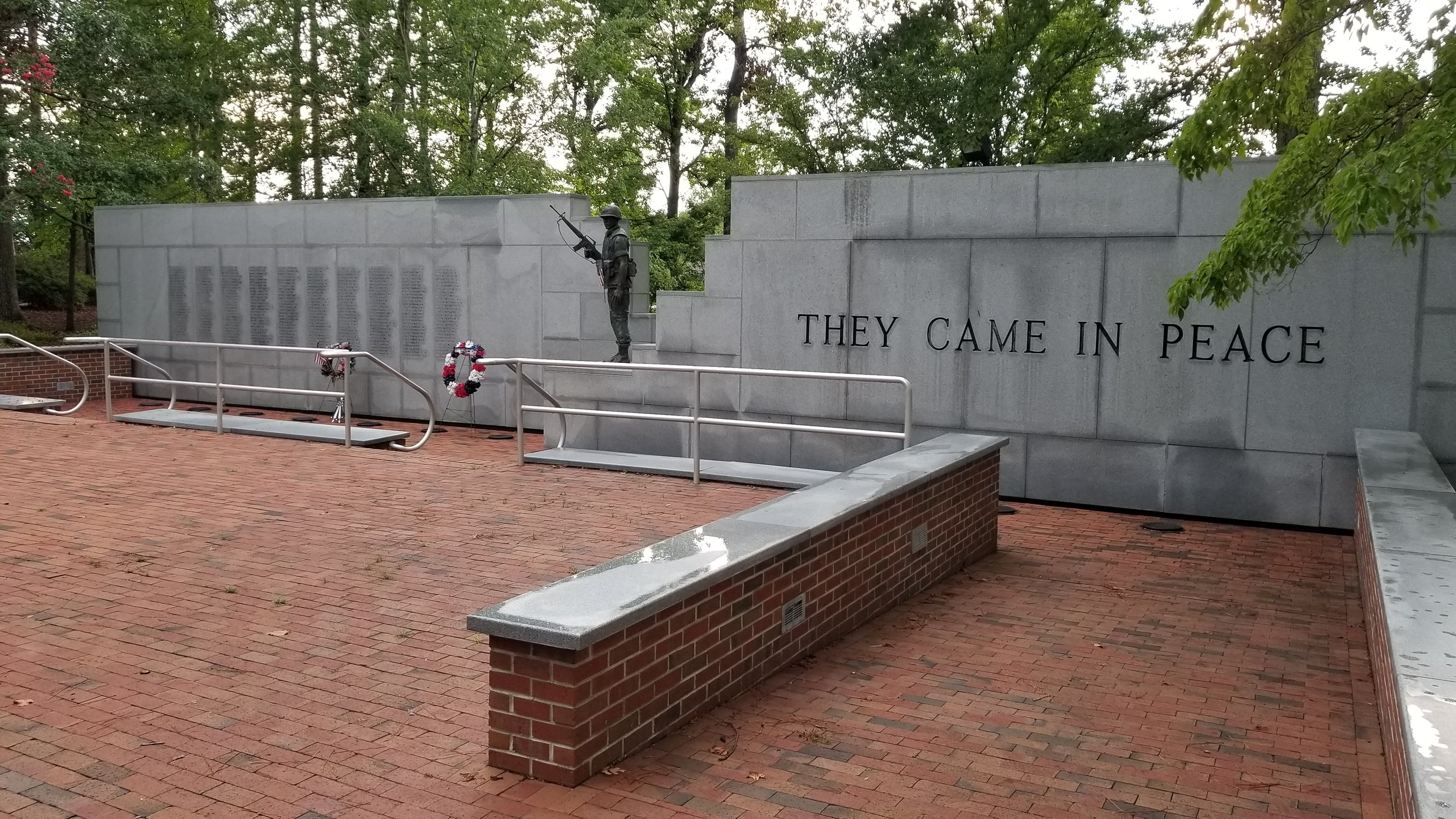More than 270 names of Marines and others who died in an attack on the barracks in Beirut are etched into the stone wall at this unique memorial in Jacksonville, NC.