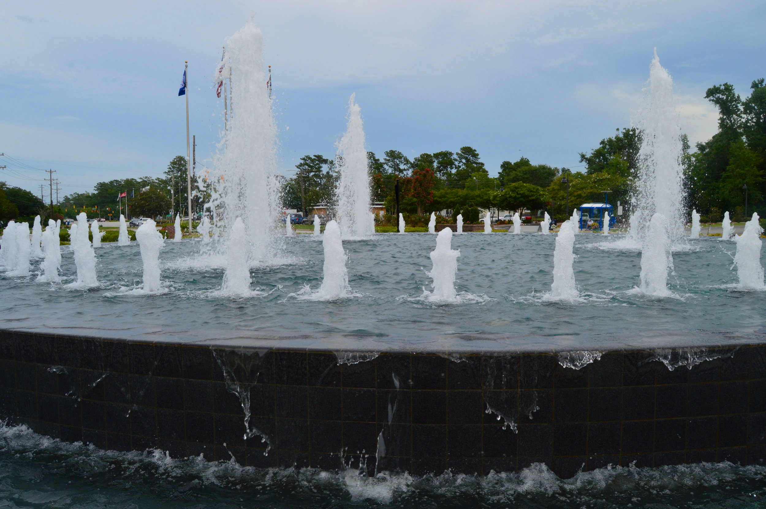 The Freedom Fountain serves as a gateway to Downtown Jacksonville, NC.