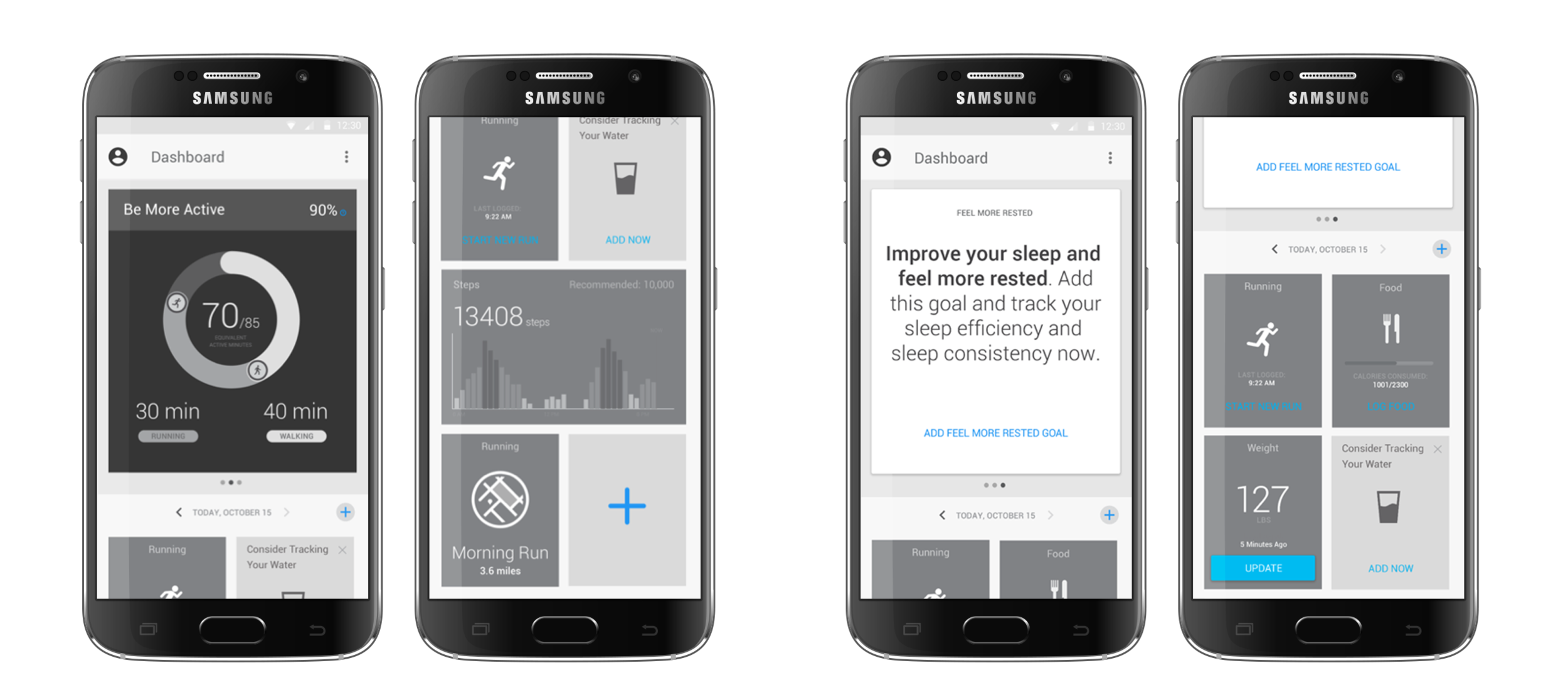 (left) Example of a dashboard with a Be More Active goal and tracker tiles below    (right) Prompts to subscribe to relevant goals allow users to easily customize their health plans