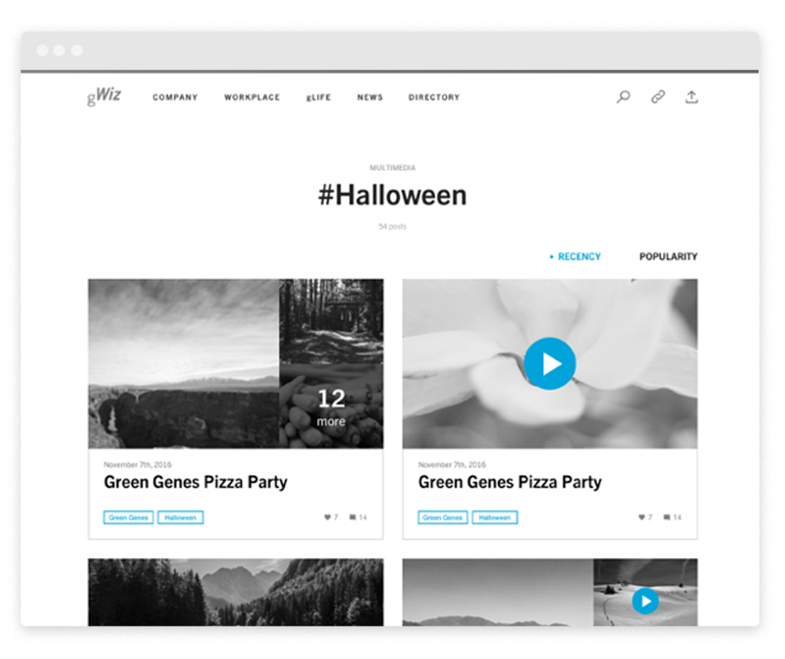 Topic pages allow discovery by tags and can include individual media or entire albums.