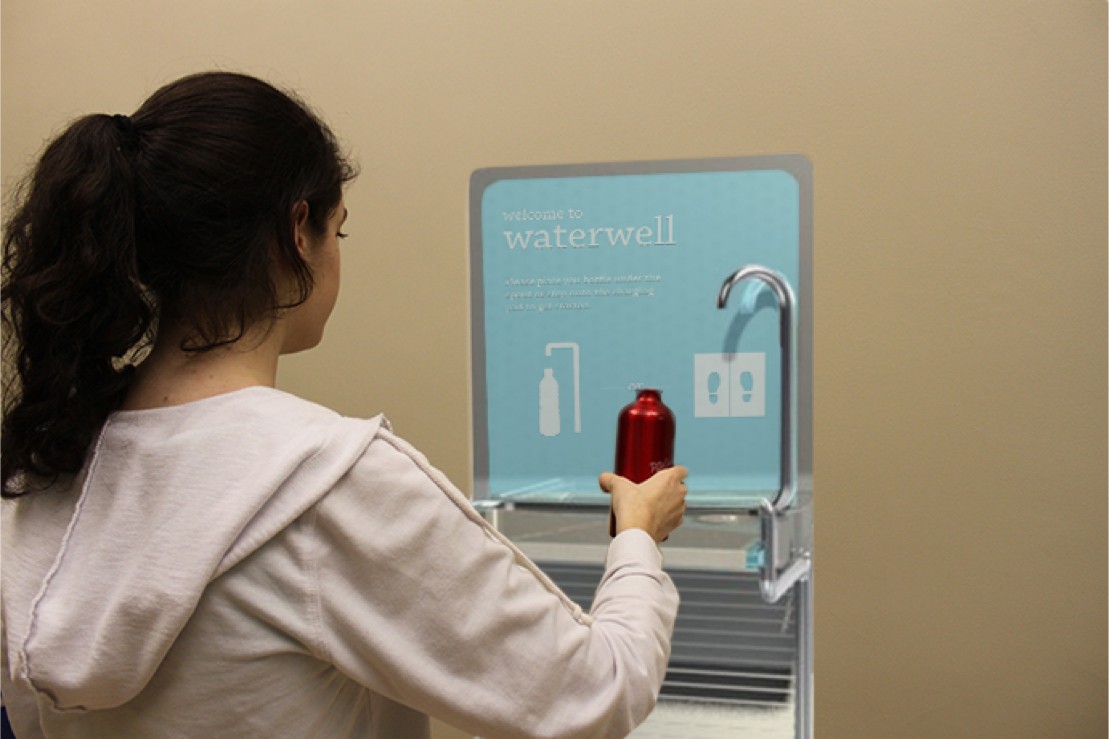 Placing a bottle under the spigot activates the Waterwell.