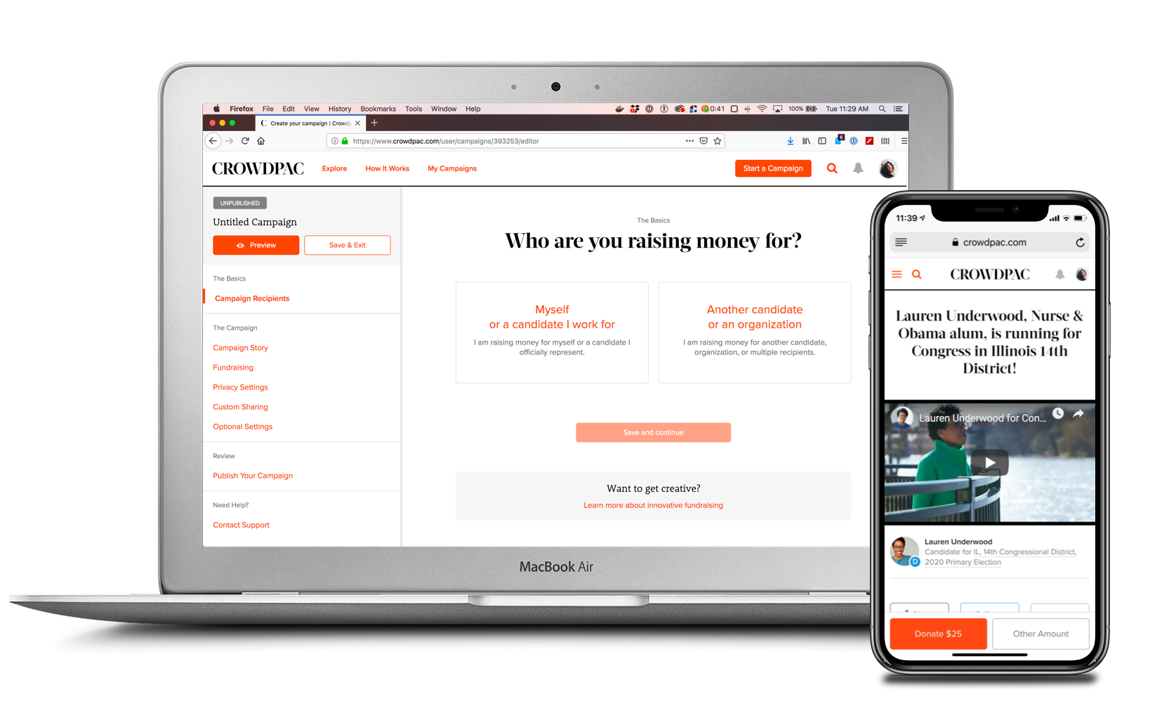 Crowdpac Product Design - A powerful platform for political change.