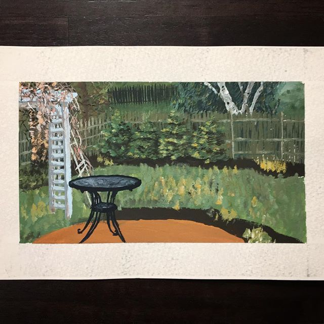 """Unfinished lil gouache painting of my parents' backyard in exchange for my mom's homemade, from scratch, taste of home baked goods. (And also like for giving birth to and raising me and stuff I guess.) Was pretty happy how this turned out given it was my second go ever with gouache! Always trying! ✌️ . 1. Gouache painting commandeered by the mother 2. 录豆酥 (mung bean aka """"green bean"""" flaked pastry) 3. 红豆包 (red bean buns) 4. Hokkaido style fruit bread? (with candied fruits + wintermelon) 5. 发糕 (Fa Gao, steamed...sponge...bread...stuff...with Chinese jujubes) 6. 江米酒 (jiang mi jiu, aka rice wine dessert soup my mother used to make by fermenting on our heaters and feed me as a small child) 7. Blueberry bread 8. 萝卜糕 (fried turnip cakes)"""