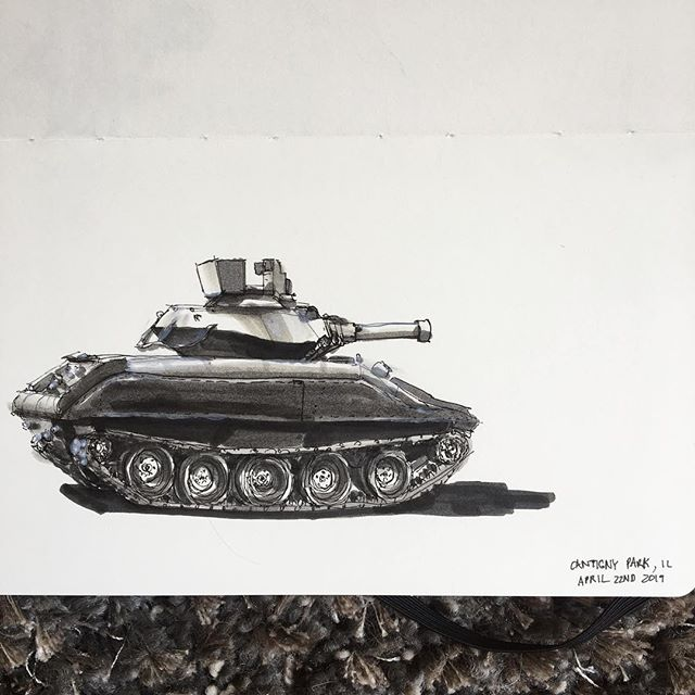 Perhaps @whyscottwhy has finally gotten to me but here's a tank sketch from @cantignypark from the recent trip back to visit the folks. I always thought that place was huge from going there as a kid so very strange to see its true form as an adult!