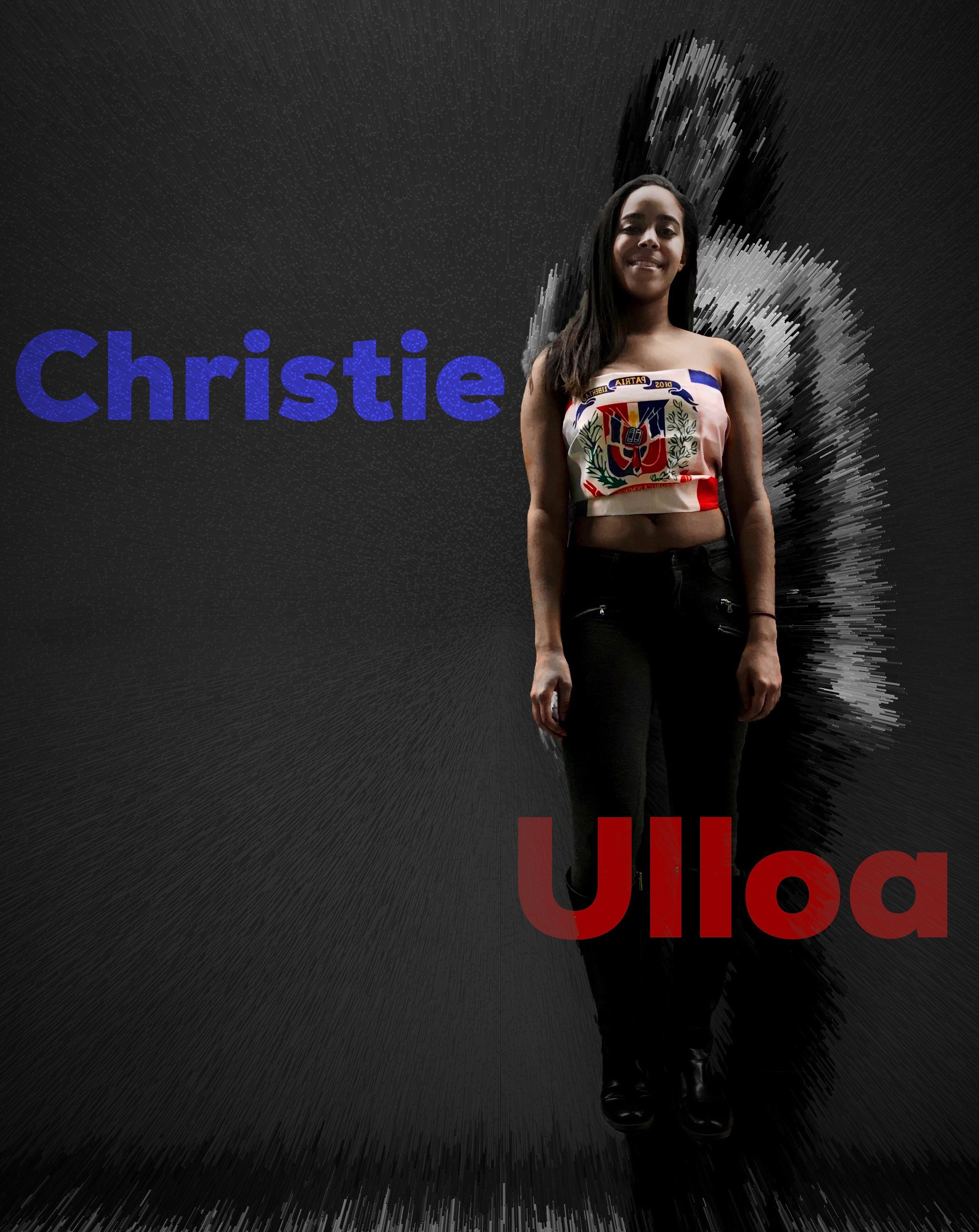 """Christie Ulloa—Dominican Republic Flag Crop-Top   When asked to participate in a cultural shoot, Christie's immediate response was """"yeah I'll bring my flag"""". Although not particularly a common article of dress, her use of the flag as a bralette style garment still shed light to her cultural background. She reflected that she had not really looked at it closely before and had only now thought about the three words that are inscribed on a blue ribbon right above the coat of arms in the center: """"God,"""" """"patriotism,"""" and """"liberty."""""""