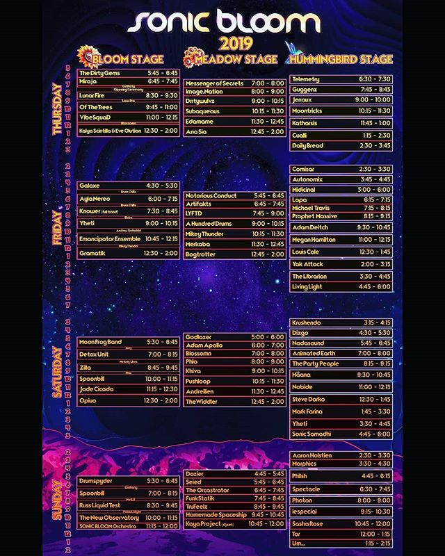 SONIC BLOOM daily music schedules are here! 3-Day / 2-Day & Sunday tickets were released! (link in @SONIC_BLOOM_ profile)  The 14th annual SONIC BLOOM is looking to be the most epic yet with 4 nights of music on 5 stages in some of North America's most sunning landscapes, complete with a flowing creek... Nothing like bass music under the Colorado stars until sunrise... Who are you excited to catch?  Tag your favorite artists to show your support  Tag the friends you want to experience this lineup with!  #SONICBLOOM #HummingbirdRanch #FourNights #SummerSolstice #Colorado #ColoradoFestival #SonicBloomFestival #festival #bassmusic #electronicmusic