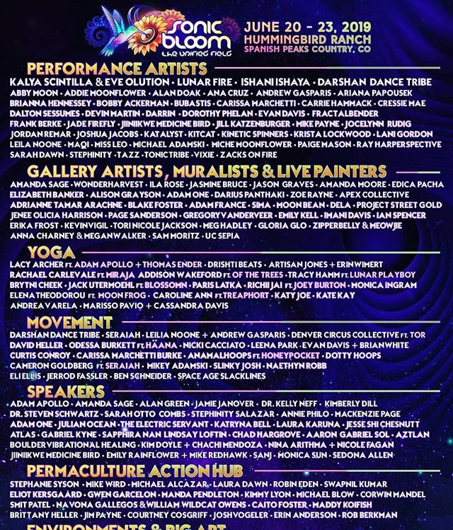 Check-out everyone who will be offering their talents at this year's SONIC BLOOM! With less than 2 weeks to go, what workshops, yoga classes, performances and art are you most looking forward to? Who would you want to experience all of this with? Let them know! (link in @SONIC_BLOOM_ profile)  #SONICBLOOM #TheUnifiedField #ColoradoFestival #Festival #Yoga #Performers #LivePainters #ArtInstallations #Tarot #Slacklines #FireDancers #Muralists #Dancers #Aerialists #ImmersiveZones #AcroYoga #ArtGallery #BigArt #Hoopers #Permaculture #Speakers