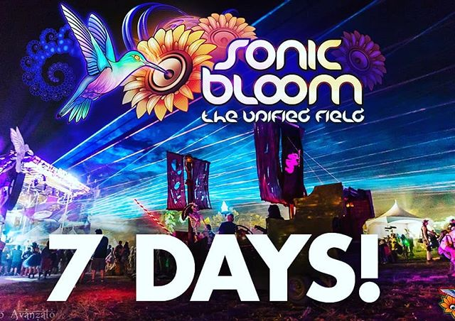 Only 1 week until the early-arrival gates open! 4-Day / 3-Day / 2-Day and Sunday tix are available now. Fri. & Sat. single-day passes go live on tix page tonight at 11:11pm! (link in @SONIC_BLOOM_ profile)  #SONICBLOOM #HummingbirdRanch #FourNights #FourDays #SunriseSets #InternationalLineup #SummerSolstice #CreeksideCamping #ShadedTreeCamping #InternationalYogaDay #VirtualRealitySets #ArtGallery #TarotReaders #Slacklines #TreeNets #OrganicFood #24HourCafe #FullBar #MassageSpa #OasisShowers #CarCamping #BassMusic #ColoradoFestival #SONICBLOOMfestival