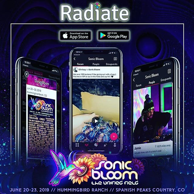 Get the full download (literally) on all things SONIC BLOOM in the festival APP from Radiate! (link in SONIC_BLOOM_ profile) Join the community and meet some new people! Find rides, events, lineups, set times, and everything else... #SONICBLOOM #Radiate #FestivalApp #SONICBLOOMfestival #Colorado #BassMusic ElectronicMusicFestival FestivalLife #FourNights #Yoga #Workshops #Schedules #Performers #LivePainters #ArtGallery #Speakers #Permaculture #Tarot #InteractiveZones #VirtualReality #SunriseSets #CreeksideCamping