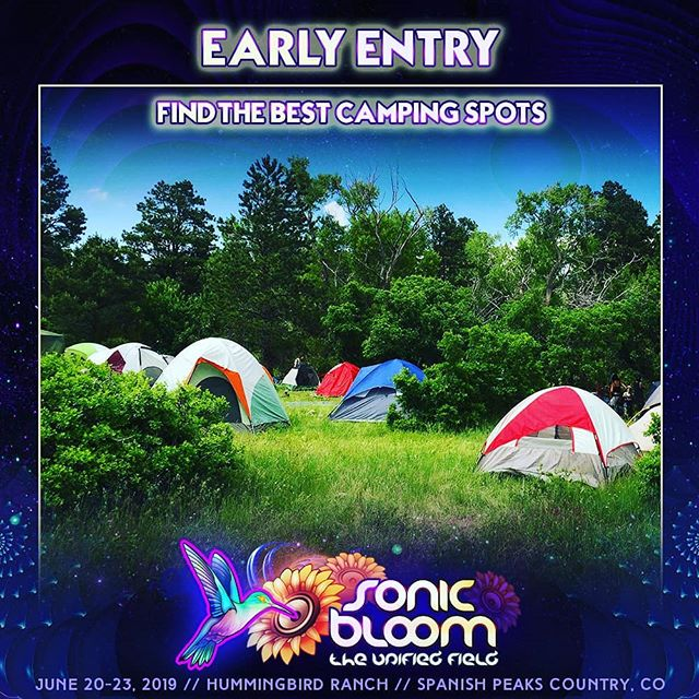 Early Entry rocks!  Get the crew together & find the best camping spots on site. Get your world dialed-in early! (link in @SONIC_BLOOM_ profile #SONICBLOOM #HummingbirdRanch #SONICBLOOM2019 #EarlyEntry #FestivalCamping #ColoradoFestival #SummerSolstice #Camping #BeatTheRush