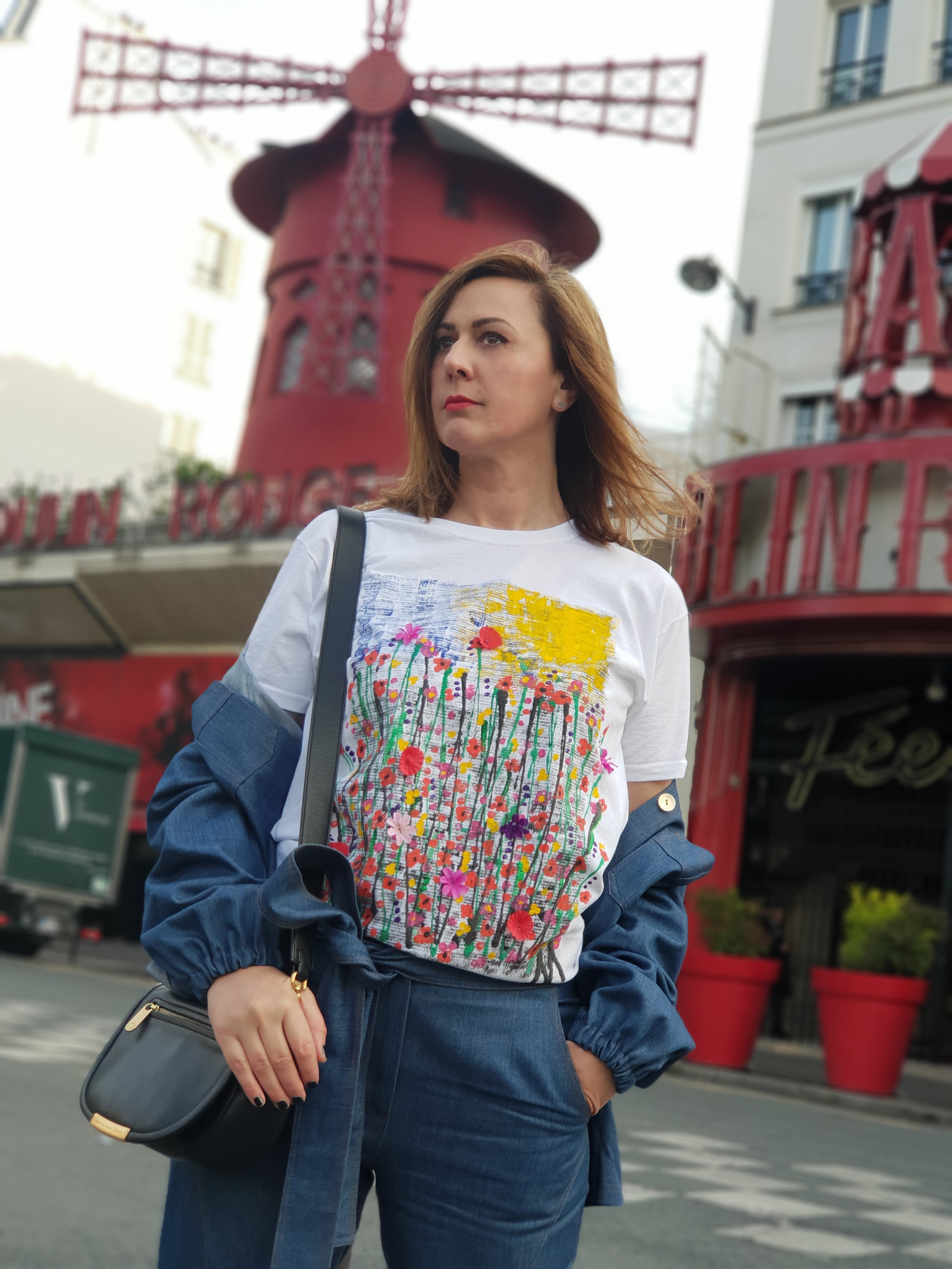 Maion hand painted T-shirt, denim jeans and jacket