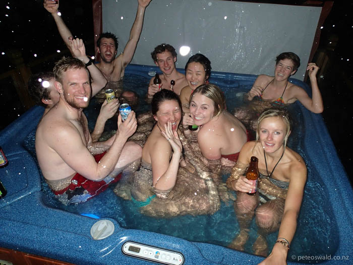 """Apres in the """"4"""" man hot tub."""