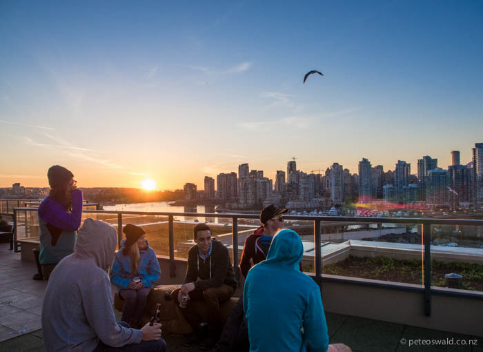 Our last evening in Canada was hosted by boots on his roof top penthouse watching the sunset over downtown Vancouver