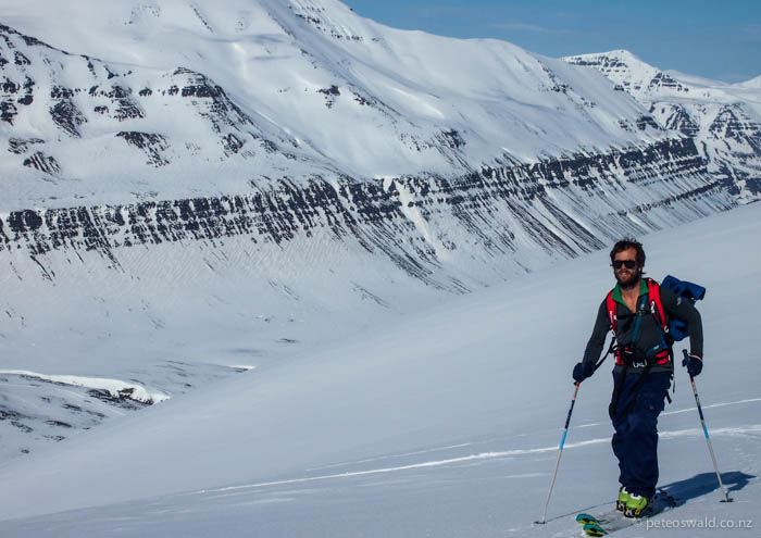 """The long skin up over 1000 vertical metres to a mountain called """"The Horse"""". Photo: Will Oswald"""