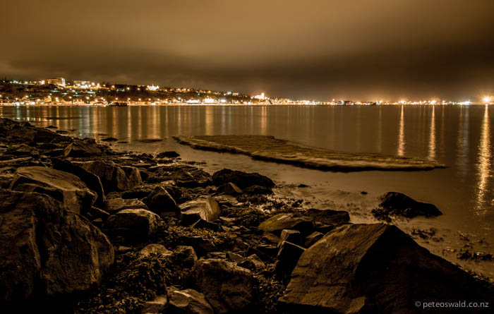 Sea ice in the Greenland Sea looking back at Akureyri under a night sky
