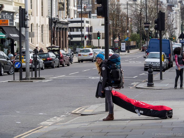 Soph lugging skis and camping kit through Nottinghill after negotiating the tube