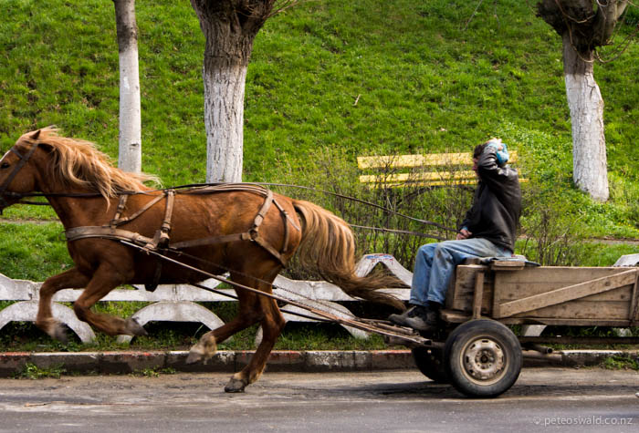 This guy had just delivered a bunch of empty crates of beer to a small bar before galloping off down the road