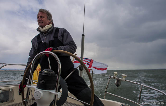 James Stevens, head of the Royal Yachting Association, skippering us on the Solent, the sea between IOW & the mainland