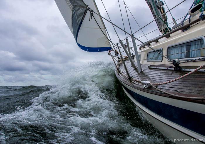 Tamora, the Stevens' yacht (34ft Hallberg-Rassy) cruising on a reach