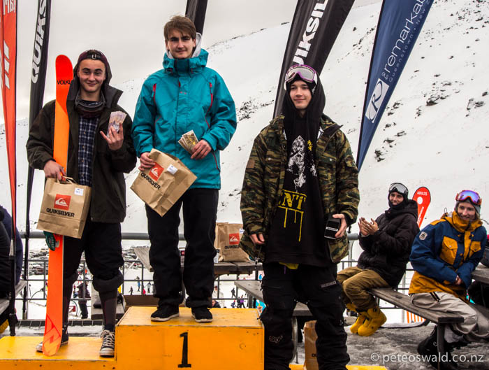 Ski men podium: 1st Alec Savery, 2nd Toby Dickson, 3rd Harry Petit (absent) & Henry the Brit 4th