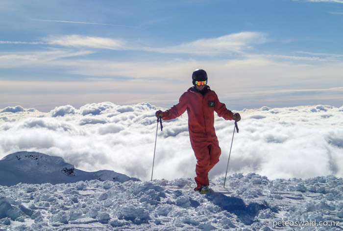 Alex Lynden wonders on a moon like landscape near the Summit of Ruapehu