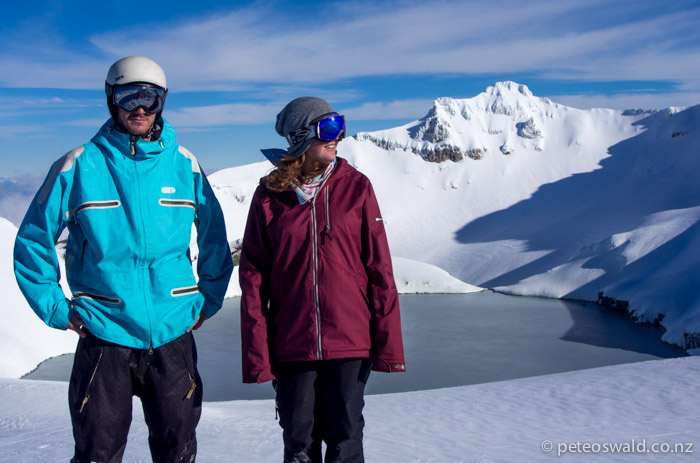 Geordie and G at the crater of the active volcano of Mt Ruapehu